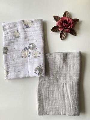 Lil Zookeeper Set Of Two Gauze Blanket Swaddles