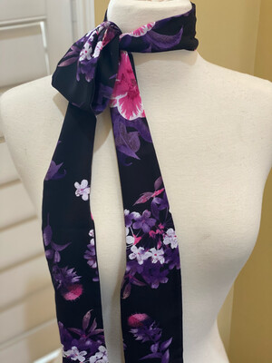 Twilly- Black/Purple Floral