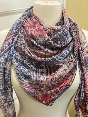 "Red White & Denim- 42"" Chiffon Paisley Ladies Fashion Scarf Wild Rag"