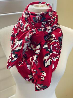 "Needlepoint- 42"" Silky Soft Satin Polyester Floral Print Men's Women's Cowboy Wild Rag"