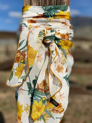 """Daffodils- 36"""" Chiffon Ladies Fashion Scarf Western Cowboy Wild Rag"""