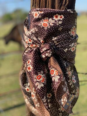 "Val- 42"" Vintage Inspired Floral Cowboy Wild Rag"