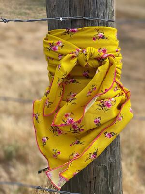 "Lemon Drop- 42"" Challis Floral Cowboy Western Wild Rag"