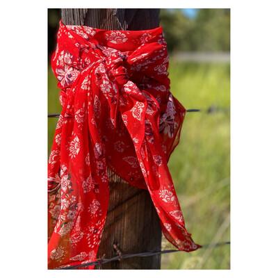 "Daisy Duke- 42"" Red Chiffon PaIsLeY Cowboy Wild Rag"