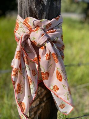 "Cinnamon And Sugar- 42"" Silky Soft Floral Print Wild Rag"