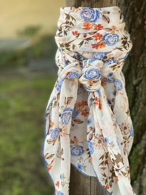 """Anna- 42"""" Chiffon Vintage Inspired Floral Wild Rag"""