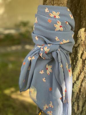 "Serenity- 42"" Chiffon Floral Wild Rag"