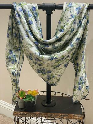 "Granny's Kitchen-42"" Silky Satin Floral Print Wild Rag"