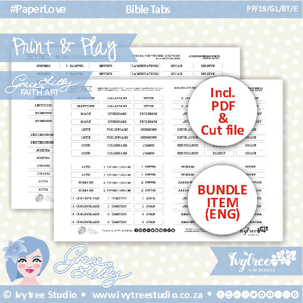PP/19/GL/BT - Print&Play - GRACELILLY FAITH ART - Bible tabs - (Black&White elements) - incl. English ONLY PDF's + FREE Silhouette cut files