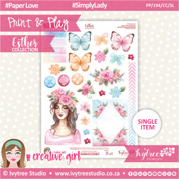 PP/194/CC/SL - Print&Play - CUTE CUTS - Simply Lady - Esther Collection