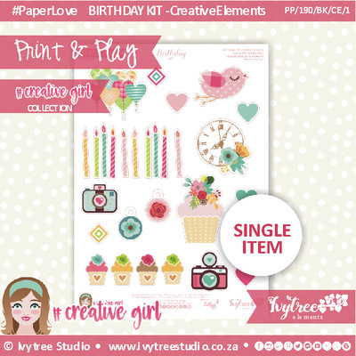 PP/190/BK/CE/1 - Print&Play - BIRTHDAY KIT - CUTE CUTS - Creative Elements (1) - Creative Girl Collection