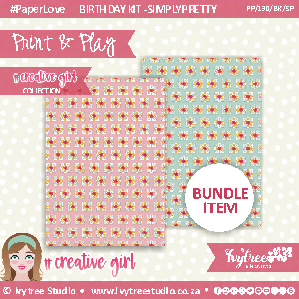 PP/190/BK/SP/5 - Print&Play - BIRTHDAY KIT - SIMPLY PRETTY- Creative Girl Collection