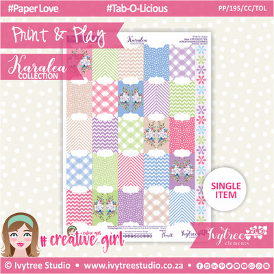 PP/195/CC/TOL - Print&Play - CUTE CUTS - Tab-O-Licious - Karalea Collection