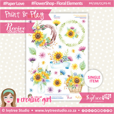 PP/193/CC/FS-FE - Print&Play - CUTE CUTS - Flower Shop-Floral Elements - Revive Collection