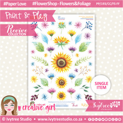 PP/193/CC/FS-FF - Print&Play - CUTE CUTS - Flower Shop-Flowers&Foliage - Revive Collection