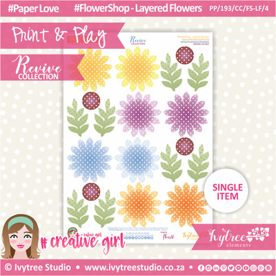 PP/193/CC/FS-LF/4 - Print&Play - CUTE CUTS - Flower Shop-Layered Flowers - Revive Collection
