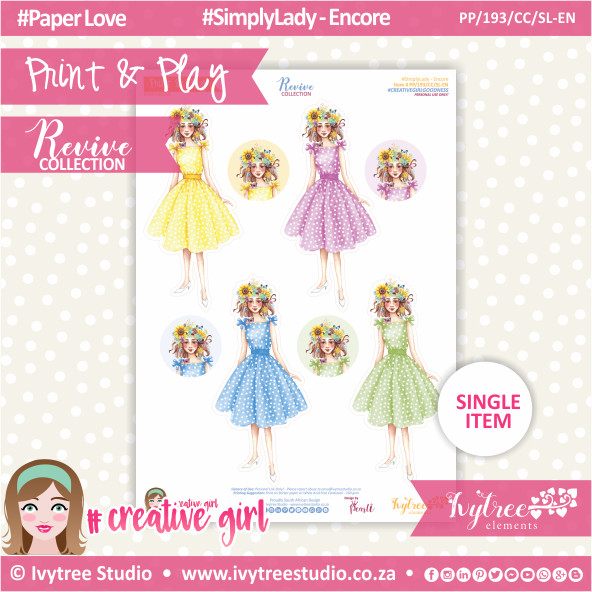 PP/193/CC/SL-EN - Print&Play - CUTE CUTS - Simply Lady-Encore - Revive Collection
