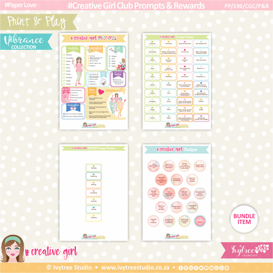 PP/196/CGC/P&R - Print&Play - Creative Girl Club Prompts & Rewards - Vibrance Collection