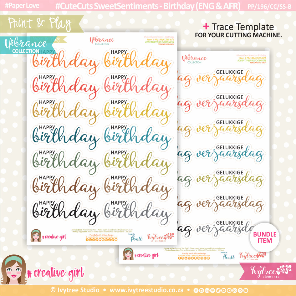PP/196/CC/SS-B - Print&Play - CUTE CUTS - Sweet Sentiments - Birthday (Eng/Afr) - Vibrance Collection