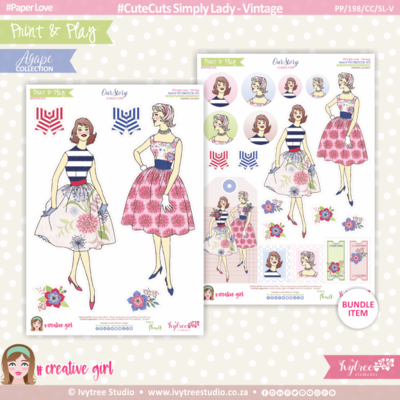 PP/198/CC/SL-V - Print&Play - CUTE CUTS - Simply Lady - Vintage - OurStory Collection
