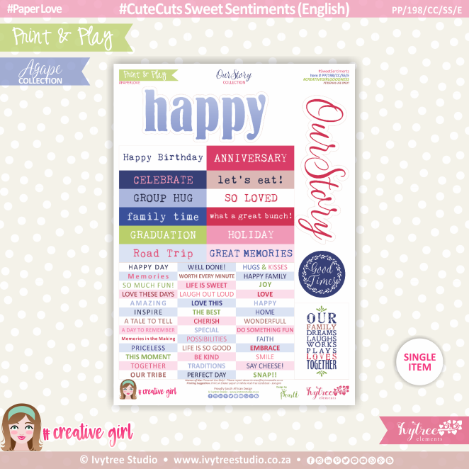 PP/198/CC/SS - Print&Play - CUTE CUTS - Sweet Sentiments (Eng/Afr) - OurStory Collection