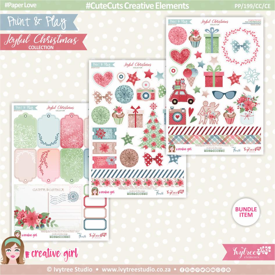PP/199/CC/CE - Print&Play - CUTE CUTS - Creative Elements - Joyful Christmas Collection