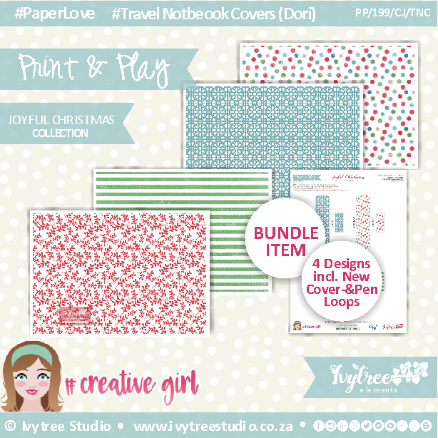 PP/199/CJ/TNC - CREATIVE JOURNAL - Travel Notebook Cover (Dori) Set (incl. Updated Tutorial with New templates) - Joyful Christmas Collection NEW
