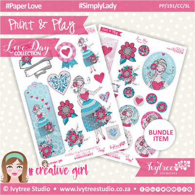 PP/191/CC/SL - Print&Play - CUTE CUTS - Simply Lady - Love Day Collection