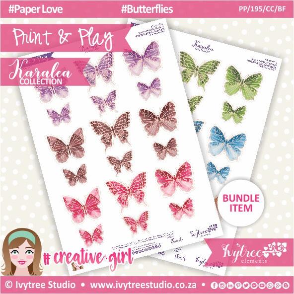 PP/195/CC/BF - Print&Play - CUTE CUTS - Butterflies - Karalea Collection