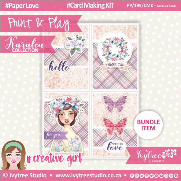 PP/195/CMK - Print&Play - Card Making KIT (Eng/Afr) - Makes 4 Cards - Karalea Collection