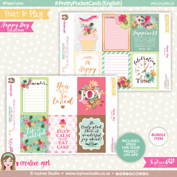 PP/173/PPC - Print&Play - PRETTY POCKET CARDS - (Eng/Afr) - Happy Day Collection - NEW: Now with Jpg's for Project Life App!!