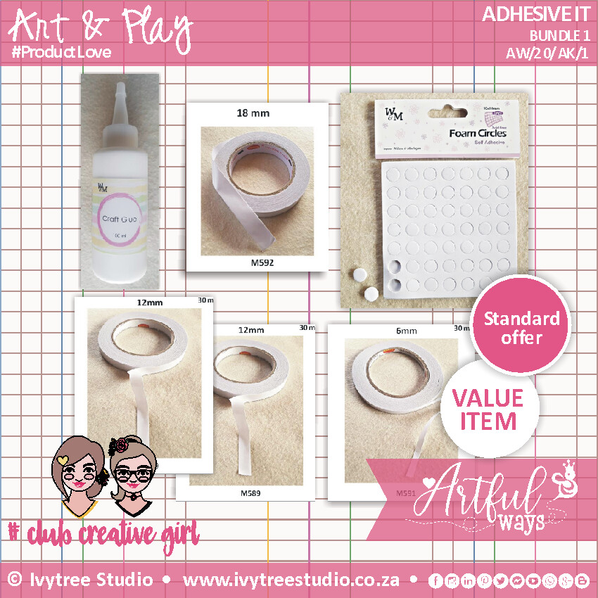 Adhesives Variety - Glue, tapes & foam elements (Select from the options menu)