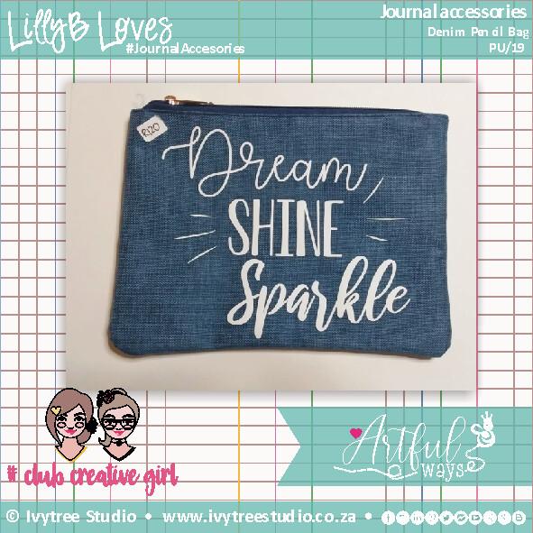 Dream Shine Sparkle Denim Pencil Bag