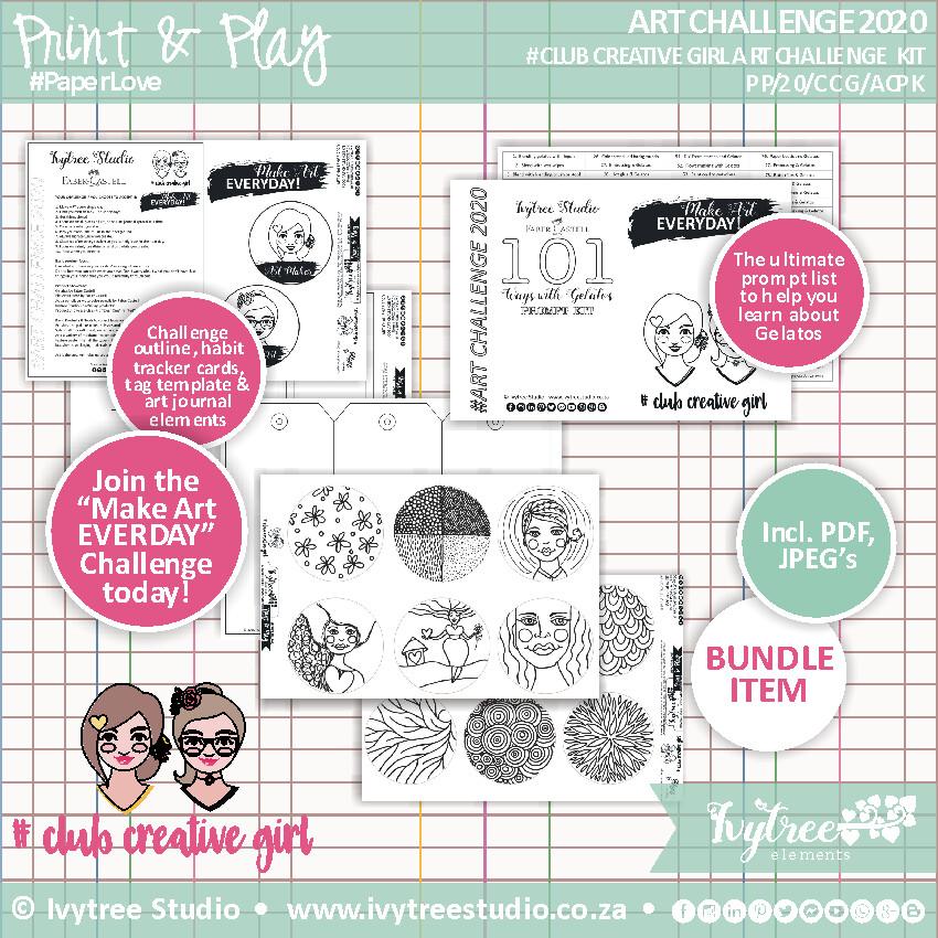 "#ClubCreativeGirl ""Make Art Everyday"" Art Challenge 2020 Kit"