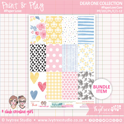PP/201/PL/C - Print&Play - PaperLove Core Bundle - (A4 x 12) - Dear One Collection