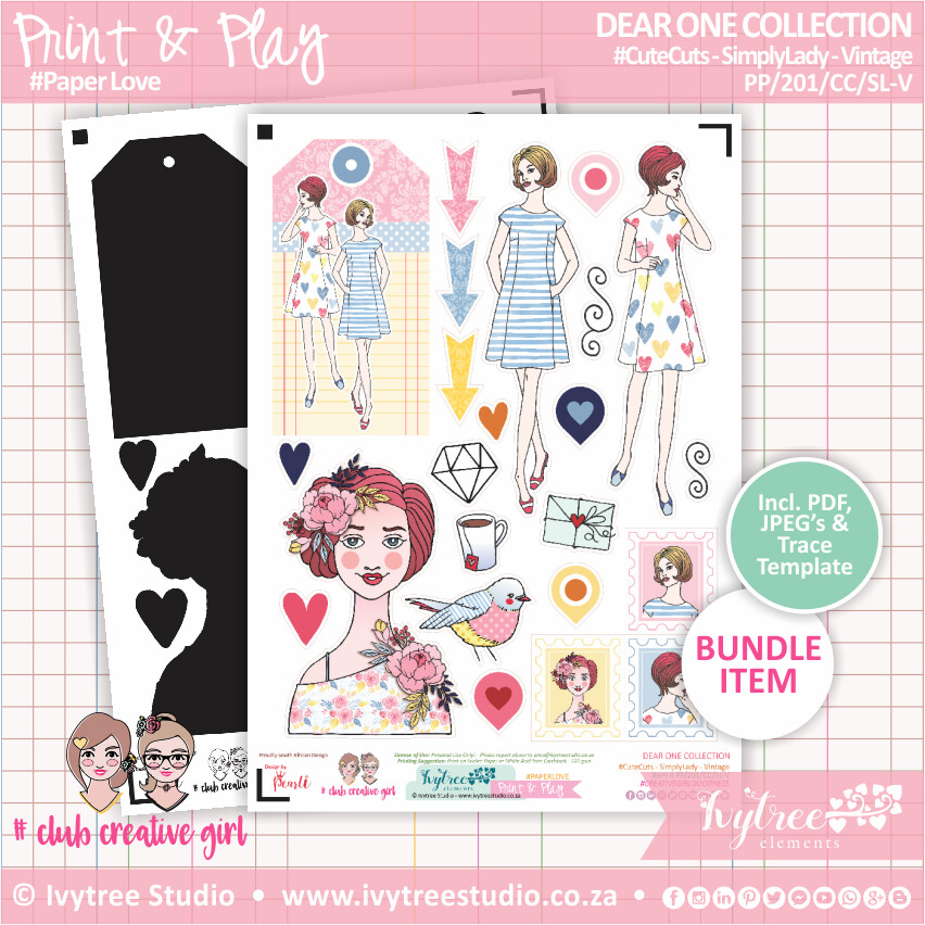 PP/201/CC/SL-V - Print&Play - CUTE CUTS - Simply Lady - Vintage - Dear One Collection