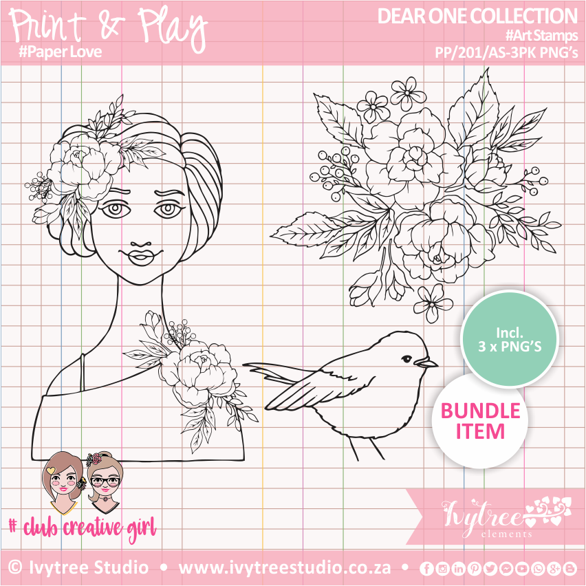 PP/201/AS-3pk - Print&Play - Art Stamps (3 pack PNG's) - Dear One Collection
