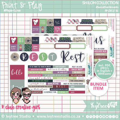 Bible Journaling Elements - SHILOH COLLECTION - Sweet Sentiments - Incl. English+Afrikaans kits (4 page kit)