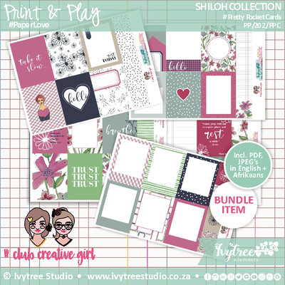 PP/202/PPC - Print&Play - SHILOH COLLECTION - Pretty Pocket Cards - Incl. English+Afrikaans kits (5 page kit) PLUS bonus Color-Me Cards