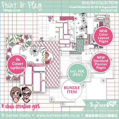 PP/202/TNK - Print&Play - SHILOH COLLECTION - Travel Notebook Insert Kit - Incl. English+Afrikaans kits (14 page kit)