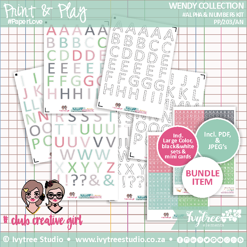 #PP/203/ANK - PRINT&PLAY - Wendy Collection - Alpha's & Numbers Kit