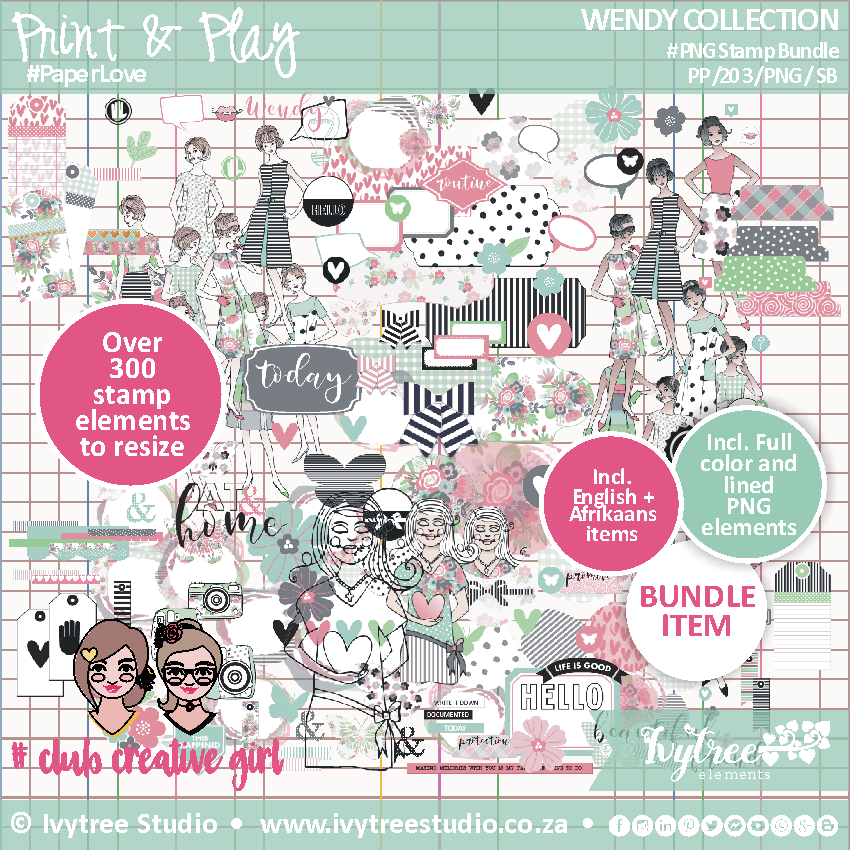#PP/203/PNGSK - PRINT&PLAY - Wendy Collection - Digital PNG Stamp Kit