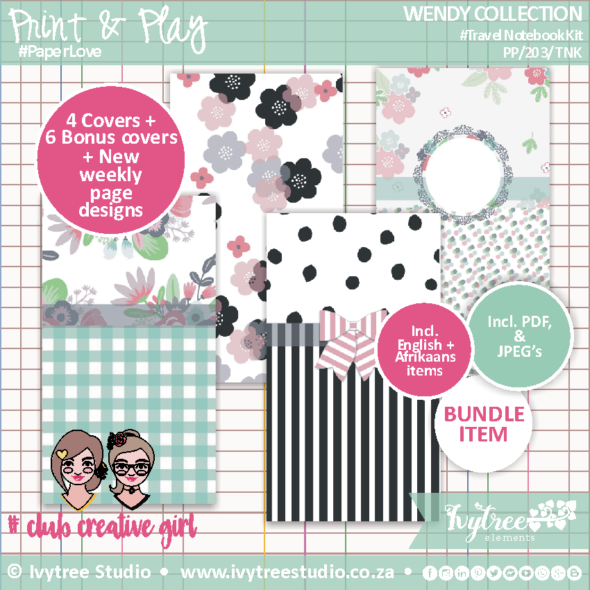 #PP/203/TNK - PRINT&PLAY - Wendy Collection - Travel Notebook Kit
