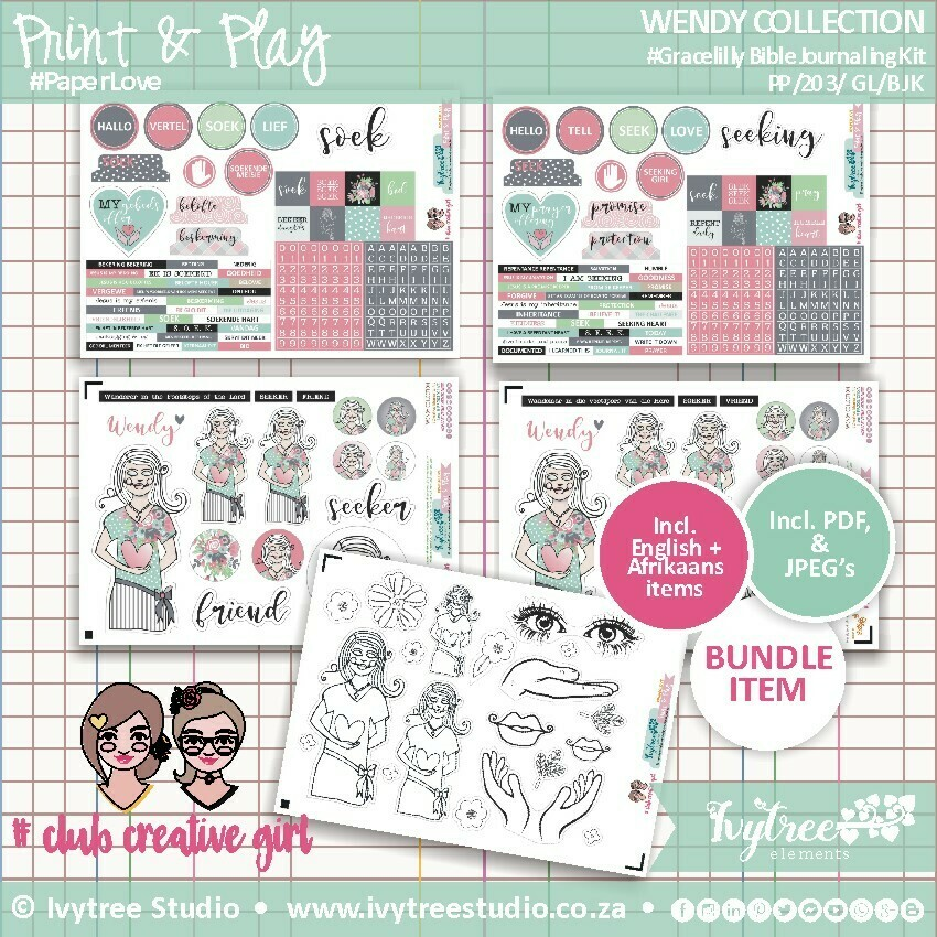 PP/203/GL/BJK - Print&Play - Wendy Collection - Grace Lilly Bible Journaling Kit - Elements in both English and Afrikaans NEW!!