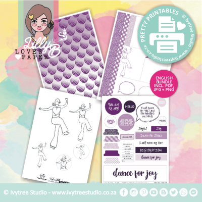 PP/200/ABA/2 - Print&Play - Dance for Joy Kit - Bible Journaling Printable - Art by Ansu collection- See description for details