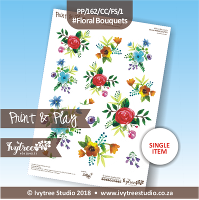 PP/162/CC/FS/1 - Print&Play Heart Friends - Cute Cuts - FLOWER SHOP- Floral Bouquets