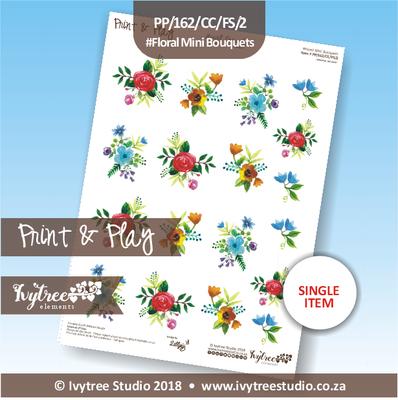 PP/162/CC/FS/2 - Print&Play Heart Friends - Cute Cuts - FLOWER SHOP - Floral Mini Bouquets