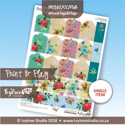 PP/162/CC/FS/6 - Print&Play Heart Friends - Cute Cuts - FLOWER SHOP - Floral Tags&Flags
