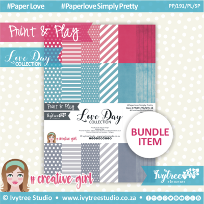 PP/191/PL/SP - Print&Play - Love Day Paperlove Simply Pretty bundle - (A4 x 18)