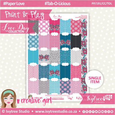 PP/191/CC/TOL - Print&Play - CUTE CUTS - Tab-O-Licious - Love Day Collection